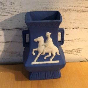 """Vintage blue vase with horse and rider - 3.5"""" tall"""